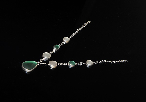 Recycled glass and silver necklace