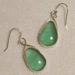 recycled glass and silver earrings